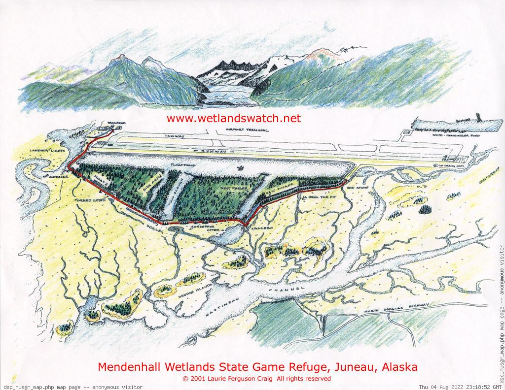 Mendenhall Wetlands State Game Refuge illustrated map | Copyright (c) 2001-2003 Laurie Ferguson Craig